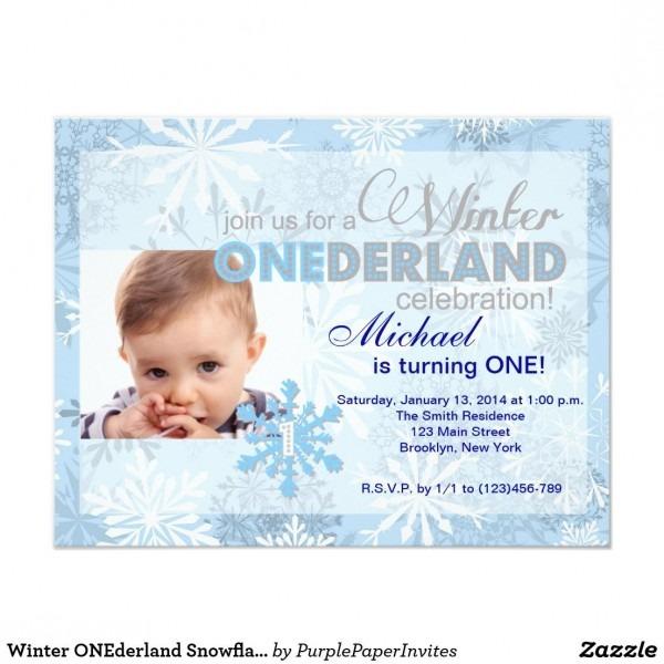 Winter Onederland Snowflake 1st Birthday Invite Winter Onederland