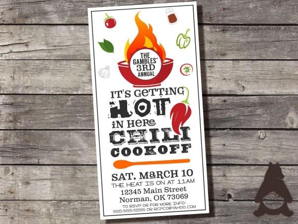 Chili Cookoff Invitation, Chili Competition, Chili Cook Off