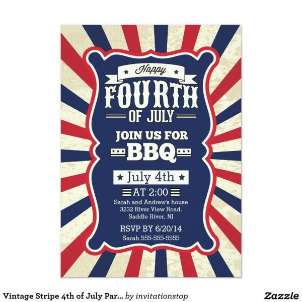 Vintage Stripe 4th Of July Party Invitation