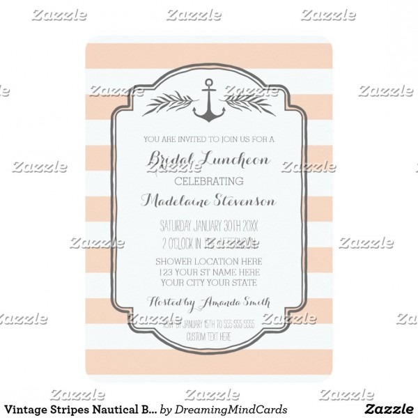 Vintage Stripes Nautical Bridal Lunch Invitations Personalized