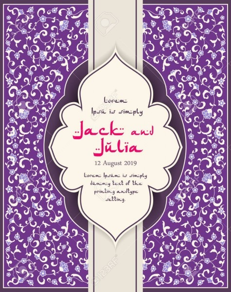 Arabic Or Indian Floral Invitation In Victorian Style  Ornamental
