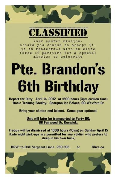 Army Birthday Party Invitations