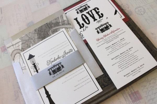 Modern Streetcar Wedding Invitation