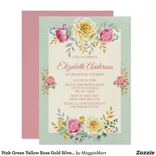 Pink Green Yellow Rose Gold Silver Bridal Shower Invitation