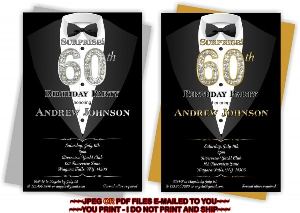 You Print Man 50th Birthday Invitation Man 60th By Tagsruscanada