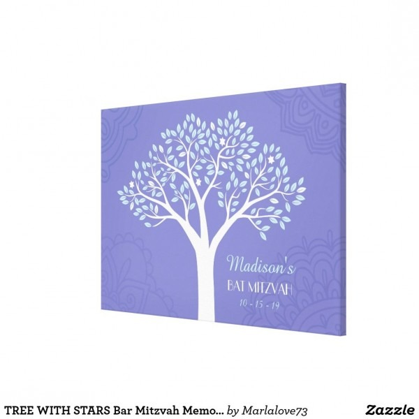 Tree With Stars Bar Mitzvah Memory Sign