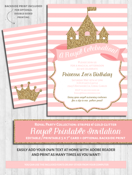 Princess Party Invitations  Pink And Gold Glitter