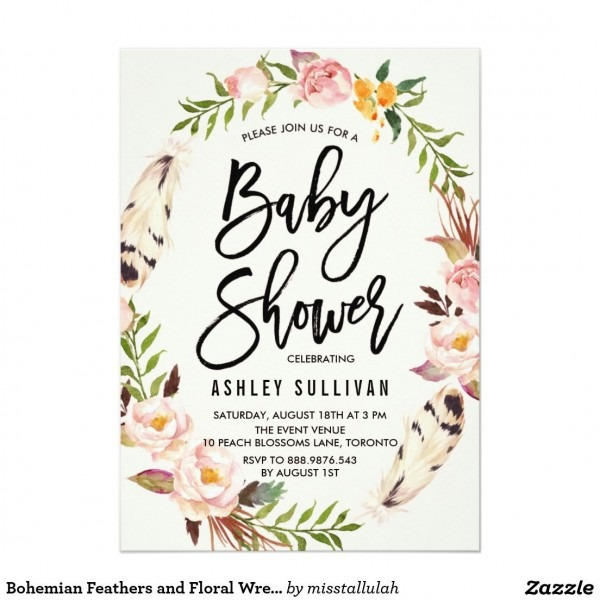 Bohemian Feathers And Floral Wreath Baby Shower Invitation