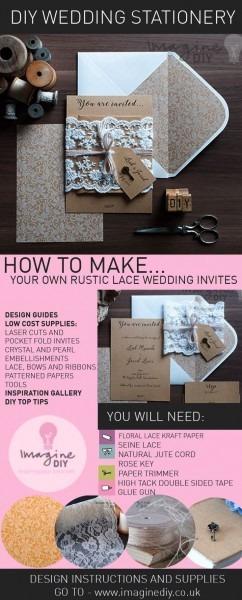 Rustic Lace Wrap Diy Wedding Invitations