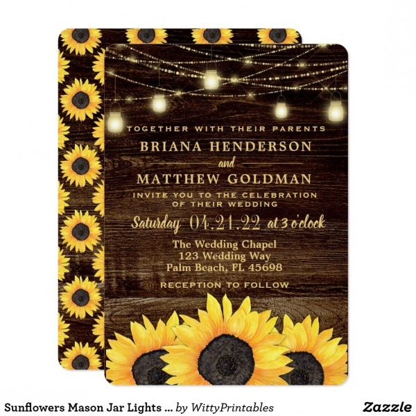Sunflowers Mason Jar Lights Wedding Invitation