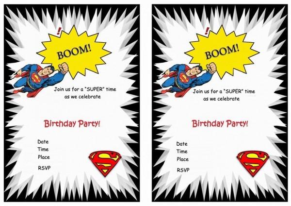 Superman Free Printable Birthday Party Invitations