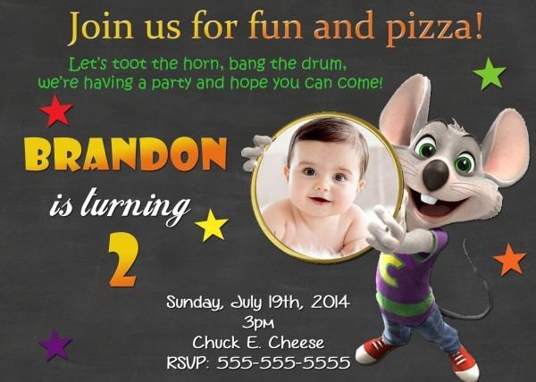 Chuck E Cheese Birthday Chalkboard Invitations