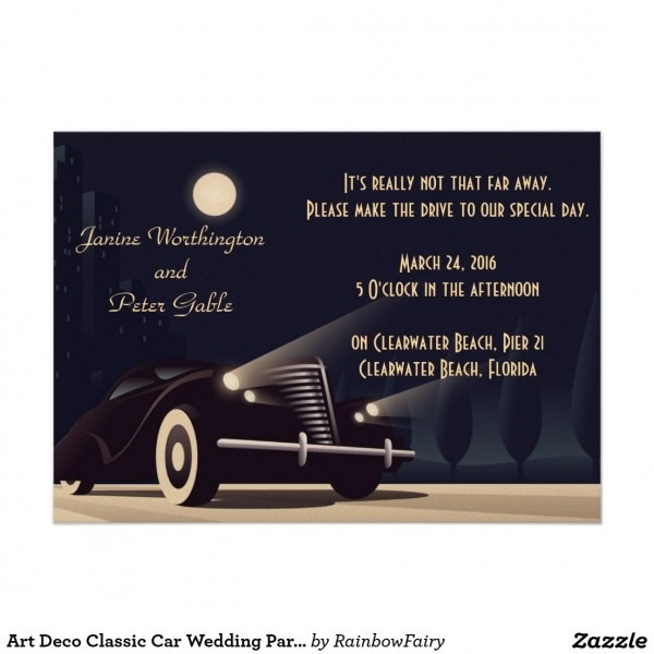 Art Deco Classic Car Wedding Party Invitation
