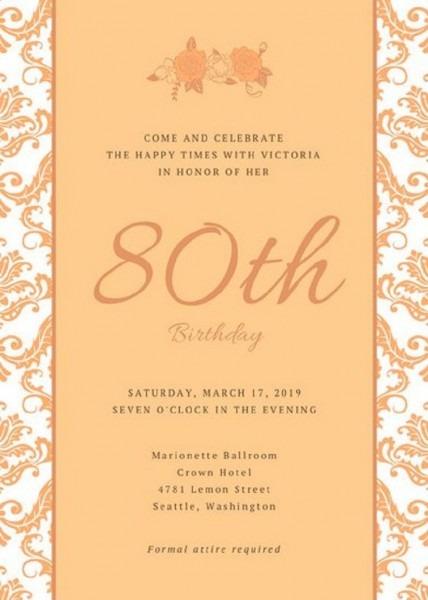 97+ 80th Birthday Invitations Samples
