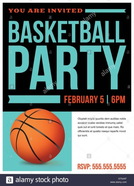 A Flyer For A Basketball Party Invitation Template  Vector Eps 10