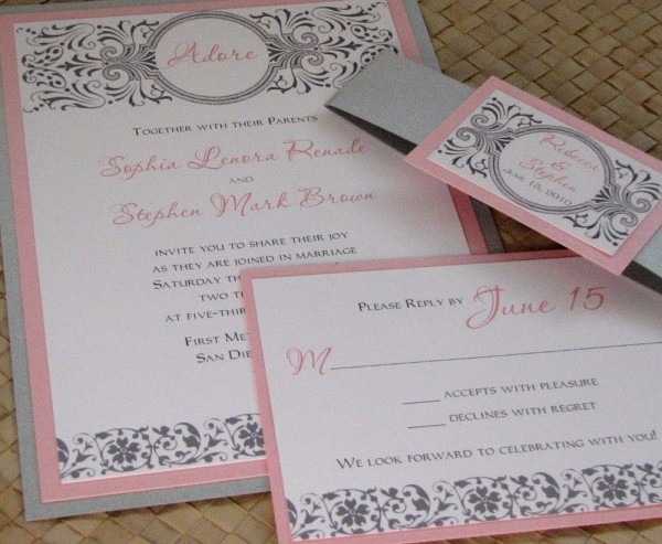 Damask Pink And Silver Wedding Invitation