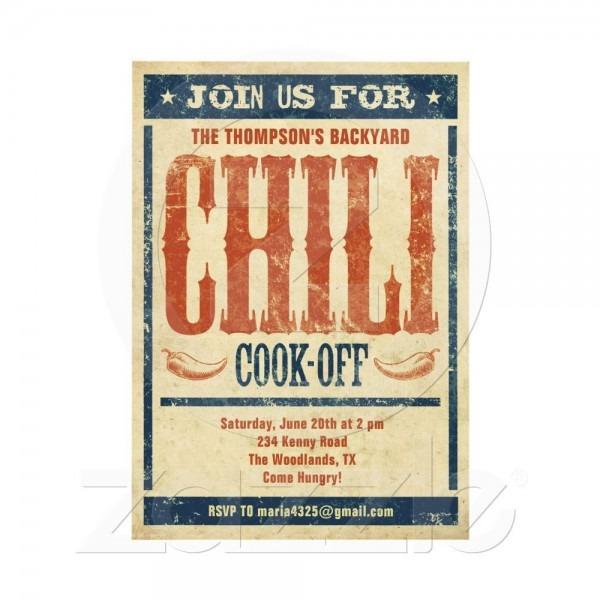 Chili Cook Off Invitations