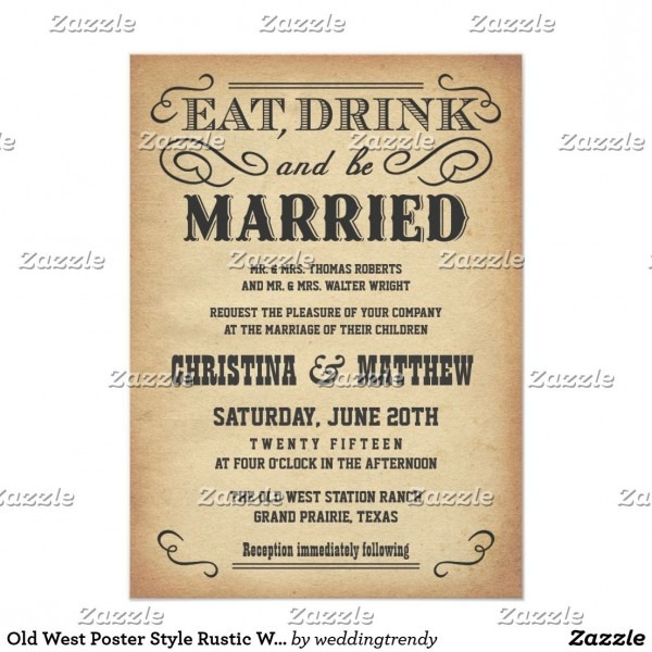 Old West Poster Style Rustic Wedding Invitations