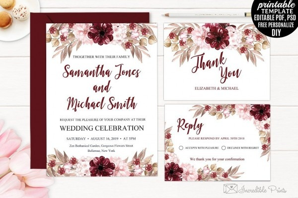Marsala Wedding Invitation Template By Incredible Prints On