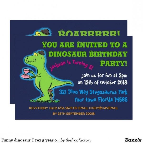 Funny Dinosaur T Rex 5 Year Old Birthday Invite