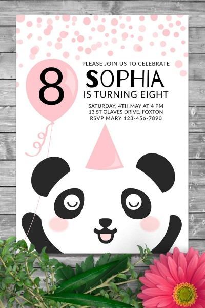Panda Birthday Party Invite