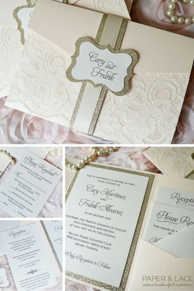 Blush Wedding Invitation With Ivory Lace And Gold Glitter