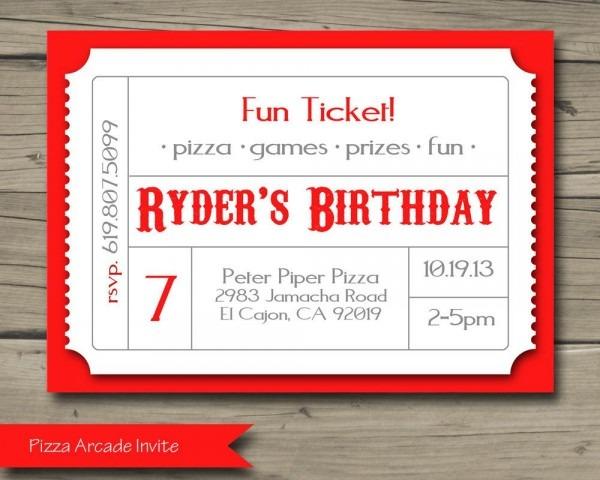 Pizza Arcade Birthday Party Invitation Printable By Harkenstudio
