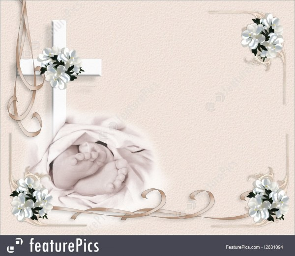 Christening Invitation Baby Feet And Cross Illustration