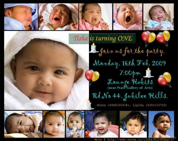 Baby Girl 1st Birthday Invitation Card — Birthday Invitation Examples