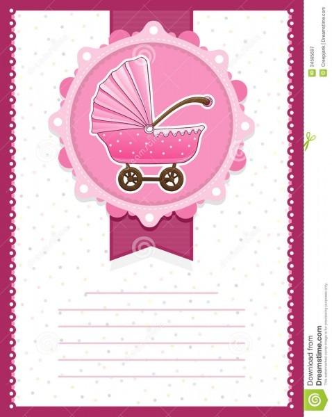 Stroller Baby Shower Template, Baby Girl Stroller Invitation Card