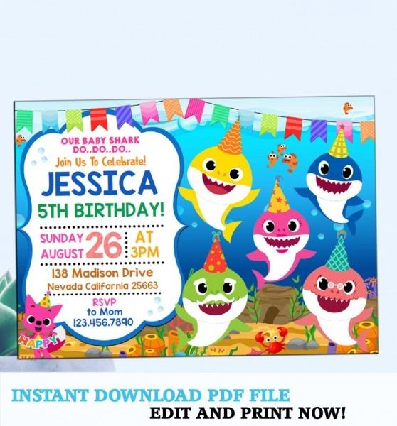 Baby Shark Party Invitation