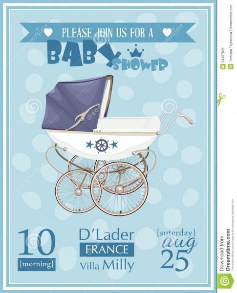 Baby Shower Boy Invitation Template Vector Illustration Stock