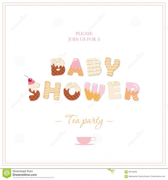 Baby Shower Tea Party Invitation Design  Sweet Decorative Letters