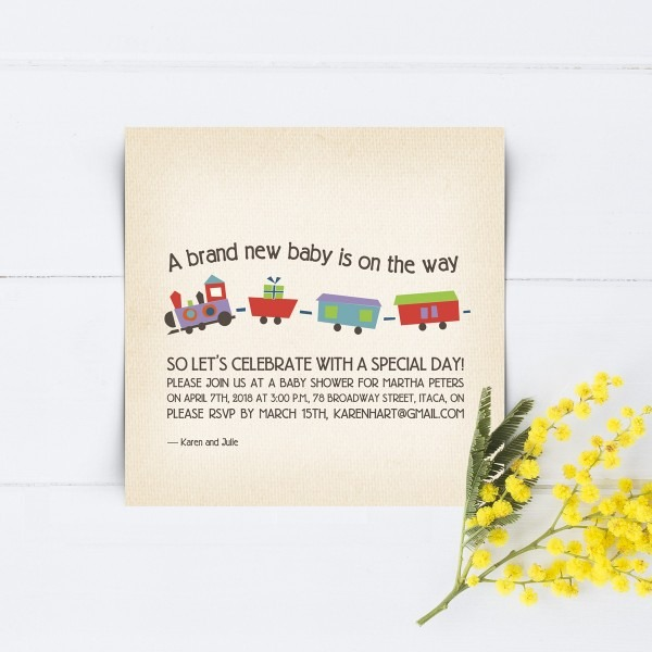 Train Baby Shower Invitations