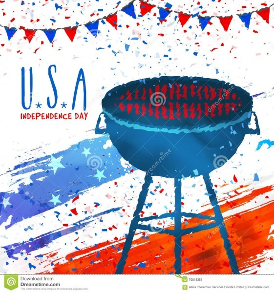 Barbecue Party Invitation Card For 4th Of July  Stock Illustration