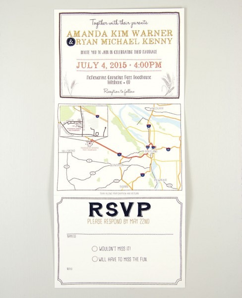 Barley And Hops Trifold Wedding Invitation With Perforated Rsvp