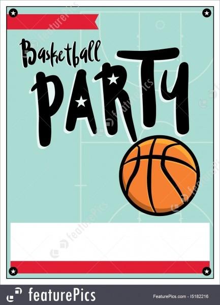 Basketball Party Invitation Template Illlustration Illustration