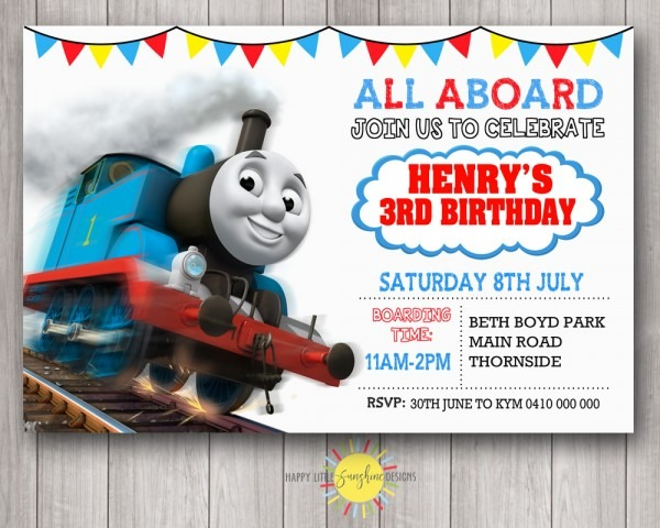 Boy Birthday Party Photo Invitation Thomas The Train With Bunting