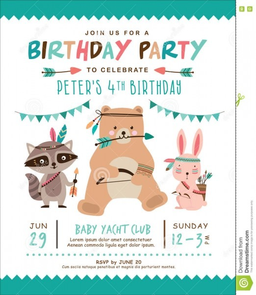Birthday Invitation Card Stock Vector  Illustration Of Party