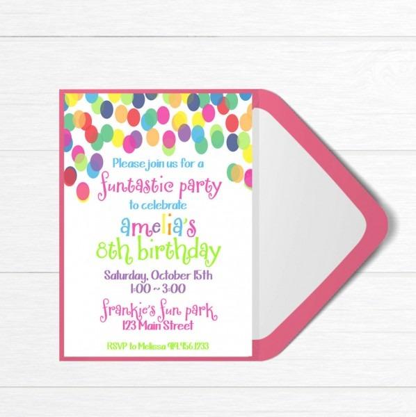 Birthday Party Invitation, Colorful Birthday Party , Fun Birthday