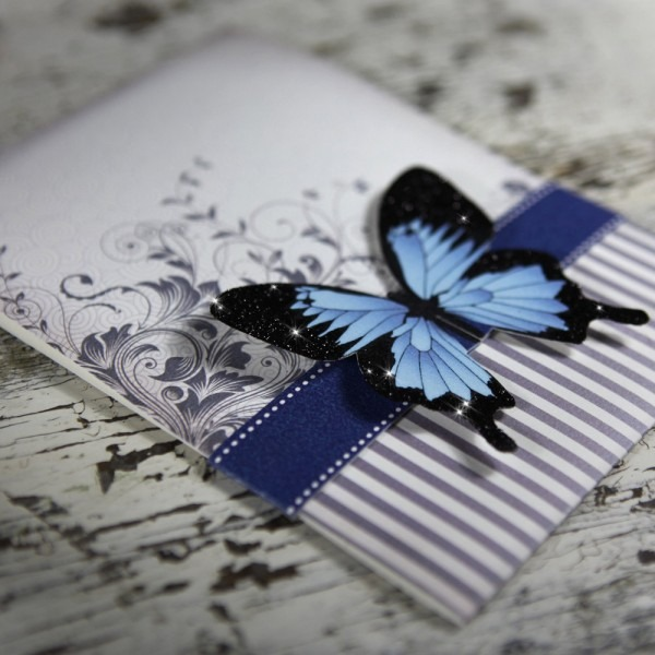 Blue Belly Band With Butterfly Embellishment Wedding Invite Idea