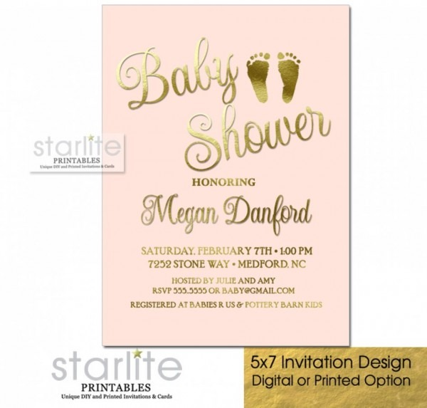 Baby Shower  Pink And Gold Baby Shower Invitations  Blush Pink
