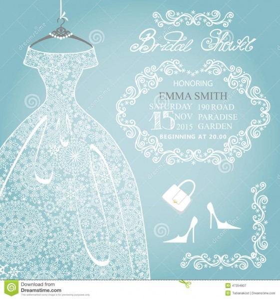 Bridal Shower Invitation Wedding Snowflake Lace Illustration