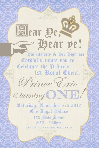 Custom Personalized Prince Birthday Party Invitations