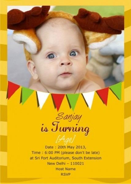 First Birthday Invitation Indian Free