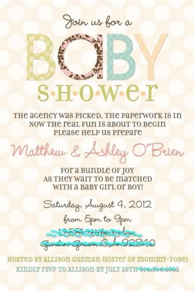 Adoption Baby Shower Invite! @stephanie Miera, Potential Wording