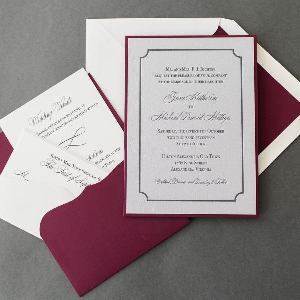 Jane & Michael's Silver Letterpress Wedding Invitations • Staccato