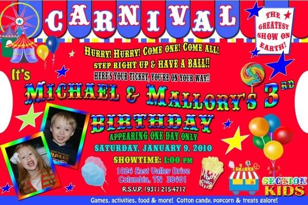 Carnival Birthday Party Invitations Carnival Birthday Party