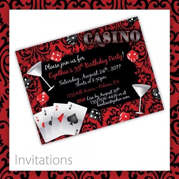 Vegas Themed Party Invitations