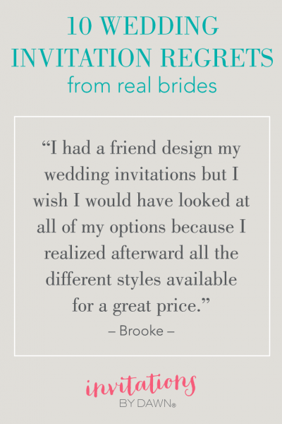 10 Wedding Invitation Regrets
